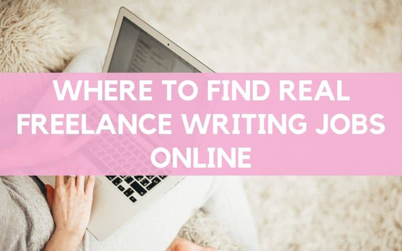"Woman on laptop sitting on white fluffy rug, image overlaid with text: ""where to find real freelance writing jobs online."""