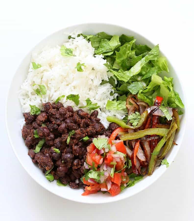 Delicious vegan burrito bowl perfect for vegan meal prep