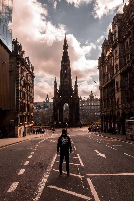 man travelling to edinburgh
