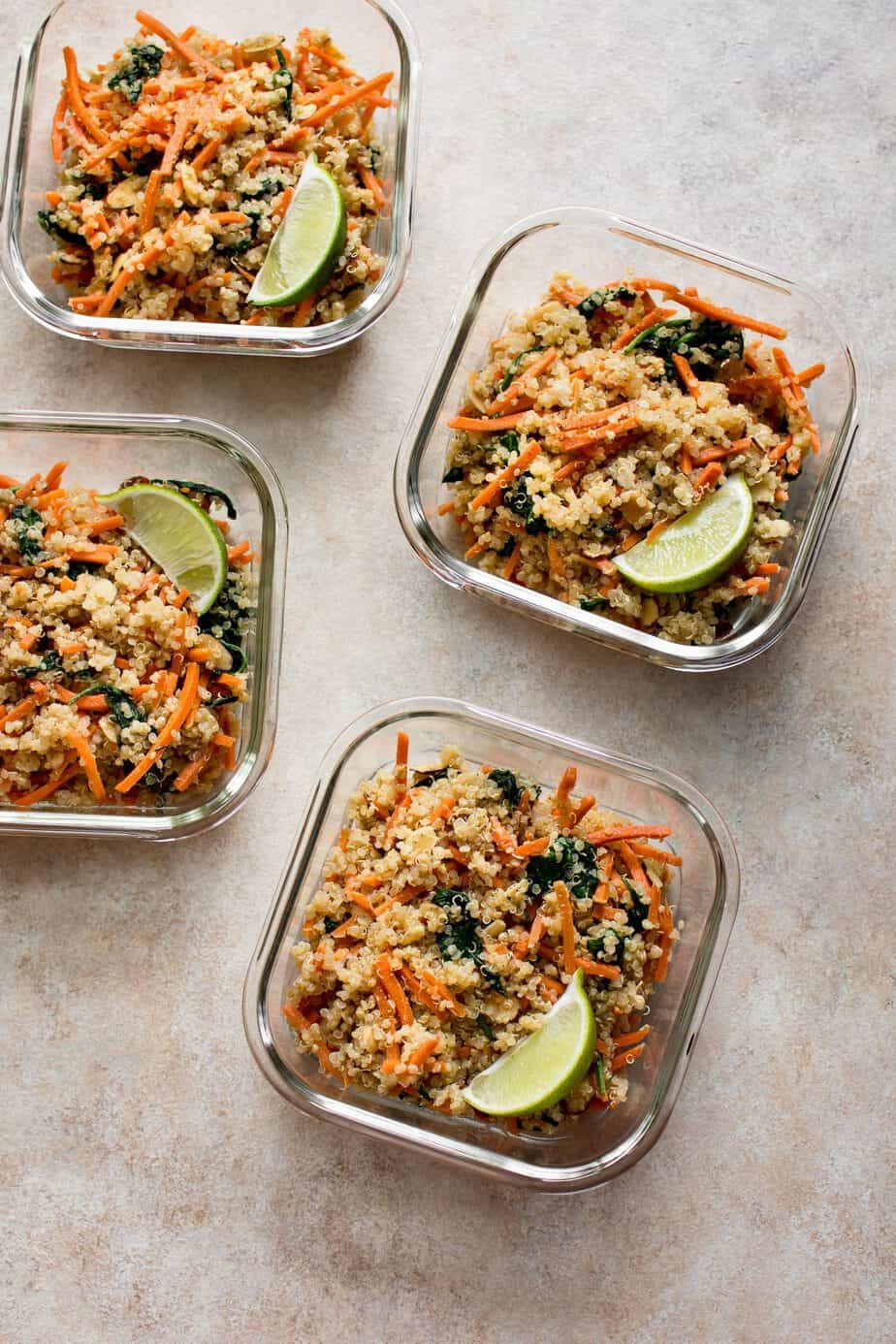 spinach and quinoa vegan lunch bowls