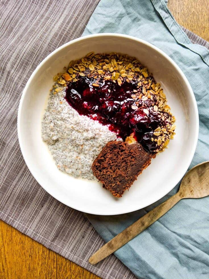 Vegan Chia Seed Pudding With Stewed Blueberries