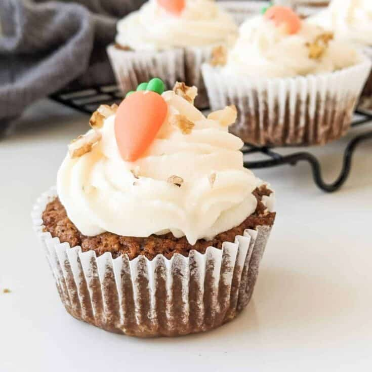 Vegan Carrot Cake Cupcakes & Cream Cheese Frosting