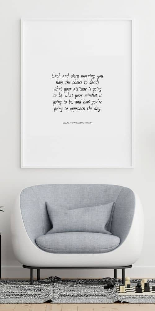 Art print with a frugal living quote on it and a grey chair in front. - a great things to make and sell from home.