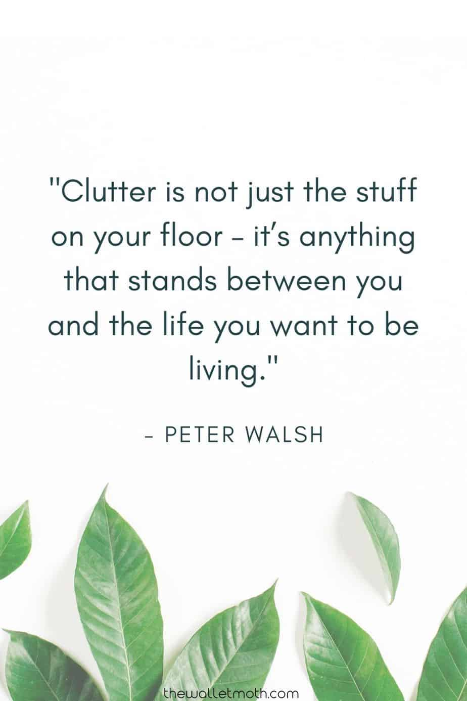 """Clutter is not just the stuff on your floor - it's anything that stands between you and the life you want to be living."""